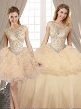 Edgy Three Piece Champagne Quince Ball Gowns Military Ball and Sweet 16 and Quinceanera with Beading and Ruffles Scoop Sleeveless Lace Up