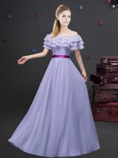 Ruffled Floor Length Lavender Quinceanera Dama Dress Off The Shoulder Short Sleeves Zipper