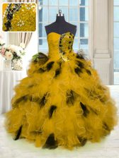 Comfortable Gold Ball Gowns Strapless Sleeveless Tulle Floor Length Lace Up Beading and Ruffles Quinceanera Gown