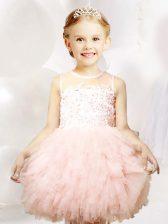 Baby Pink Scoop Neckline Appliques and Ruffles Toddler Flower Girl Dress Sleeveless Zipper