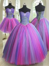 Modest Three Piece Multi-color Sweetheart Neckline Beading Sweet 16 Quinceanera Dress Sleeveless Lace Up