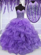 Comfortable Sleeveless Floor Length Beading and Ruffles Lace Up Quinceanera Dress with Lavender