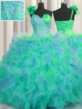 Glittering One Shoulder Handcrafted Flower Floor Length Ball Gowns Sleeveless Multi-color Ball Gown Prom Dress Lace Up