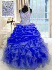 Elegant Floor Length Ball Gowns Sleeveless Blue Sweet 16 Quinceanera Dress Zipper