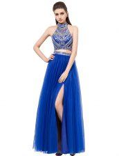 Custom Design Square Sleeveless Criss Cross Dress for Prom Royal Blue Tulle