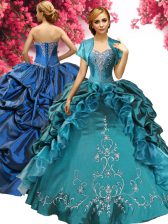 Sweet Sleeveless Floor Length Beading and Embroidery and Pick Ups Lace Up Quinceanera Dresses with Teal