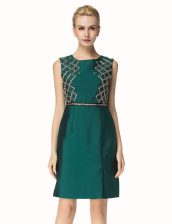 Flare Dark Green Bateau Zipper Beading Evening Dress Sleeveless