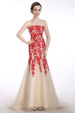 Mermaid Strapless Sleeveless Brush Train Appliques Red and Champagne Tulle