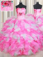Strapless Sleeveless Lace Up Quinceanera Gown Pink And White Organza