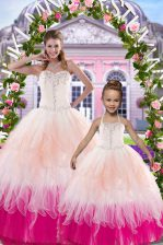Glittering Ball Gowns Quinceanera Dress Multi-color Sweetheart Tulle Sleeveless Floor Length Lace Up