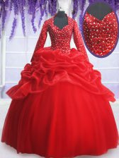 Sweetheart Long Sleeves Organza and Tulle Quinceanera Dresses Beading and Sequins and Pick Ups Zipper