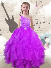 Pretty One Shoulder Sleeveless Organza Floor Length Lace Up Little Girl Pageant Gowns in Fuchsia with Beading and Ruffles