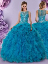 Nice Organza Scoop Sleeveless Zipper Beading and Ruffles Sweet 16 Dress in Teal