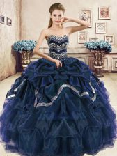Sweetheart Sleeveless Quinceanera Gown Floor Length Beading and Ruffled Layers and Pick Ups Navy Blue and Purple Organza
