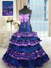 Decent Sleeveless Taffeta Brush Train Lace Up Quinceanera Dress in Navy Blue with Appliques and Ruffled Layers and Bowknot
