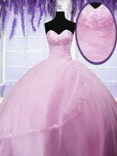 Customized Sweetheart Sleeveless Tulle Quince Ball Gowns Appliques Lace Up