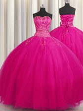 Graceful Big Puffy Sweetheart Sleeveless Lace Up Quinceanera Gown Fuchsia Tulle