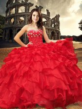 Floor Length Ball Gowns Sleeveless Red Ball Gown Prom Dress Lace Up