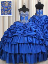 Elegant Pick Ups Ruffled Royal Blue Sleeveless Taffeta Brush Train Lace Up 15 Quinceanera Dress for Military Ball and Sweet 16 and Quinceanera