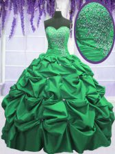 Pick Ups Floor Length Ball Gowns Sleeveless Green 15th Birthday Dress Lace Up