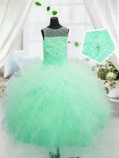 Scoop Apple Green Sleeveless Floor Length Beading and Appliques Zipper Little Girls Pageant Dress
