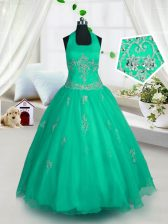 Halter Top Green A-line Appliques Little Girls Pageant Gowns Lace Up Tulle Sleeveless Floor Length
