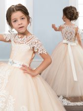 Fancy Scoop White Short Sleeves With Train Appliques and Sashes ribbons Zipper Kids Formal Wear