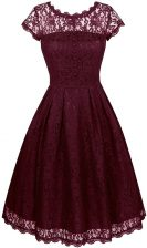 Scalloped Burgundy Short Sleeves Organza Zipper Evening Dress for Prom and Party