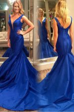 Mermaid Royal Blue Prom Evening Gown Prom with Pleated V-neck Sleeveless Court Train Zipper