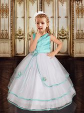 Asymmetric Sleeveless Tulle Girls Pageant Dresses Beading and Ruffled Layers Zipper