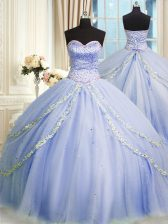 Enchanting Sweetheart Sleeveless Quinceanera Gowns With Brush Train Beading and Appliques Lavender Tulle
