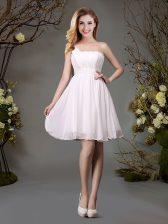 Sexy White Empire Chiffon One Shoulder Sleeveless Beading and Ruching Mini Length Zipper Quinceanera Dama Dress