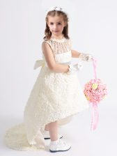 White Fabric With Rolling Flowers Zipper Scoop Sleeveless High Low Flower Girl Dresses Beading and Bowknot