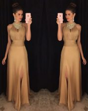 Noble Floor Length Gold Scoop Sleeveless Zipper
