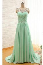 Discount Scoop Apple Green Zipper Prom Gown Beading and Ruching Sleeveless With Brush Train