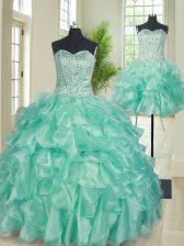 Designer Three Piece Floor Length Apple Green Quinceanera Gown Organza Sleeveless Beading and Ruffles