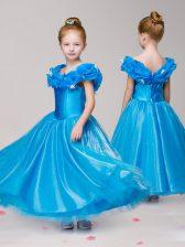 Off the Shoulder Cap Sleeves Appliques Zipper Kids Pageant Dress