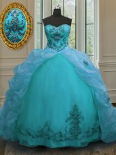 Fabulous Sleeveless With Train Beading and Appliques and Pick Ups Lace Up Quinceanera Gowns with Aqua Blue Court Train