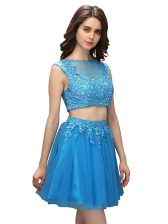 Discount Baby Blue Homecoming Dress Prom and Party with Beading and Appliques Asymmetric Sleeveless Zipper
