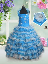 Baby Blue Organza Lace Up Straps Sleeveless Floor Length Pageant Gowns For Girls Beading and Appliques and Ruffled Layers