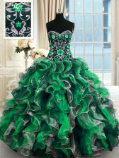 Glorious Multi-color Sweetheart Lace Up Beading and Ruffles Sweet 16 Dress Sleeveless