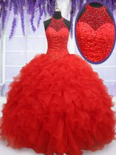 Red Halter Top Lace Up Beading and Ruffles 15th Birthday Dress Sleeveless