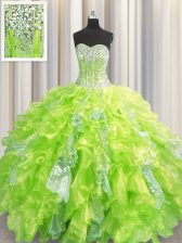 High Class Visible Boning Yellow Green Ball Gowns Organza and Sequined Sweetheart Sleeveless Beading and Ruffles and Sequins Floor Length Lace Up Ball Gown Prom Dress