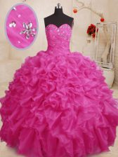 Beading and Ruffles Quinceanera Gown Hot Pink Lace Up Sleeveless Floor Length