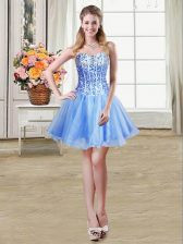 Enchanting Blue Lace Up Prom Evening Gown Sequins Sleeveless Mini Length