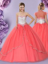 Sweetheart Sleeveless Lace Up Quinceanera Gowns Watermelon Red Tulle