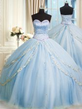Baby Blue Lace Up Sweetheart Beading and Appliques Quince Ball Gowns Organza Sleeveless Court Train
