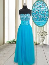 Tulle Sweetheart Sleeveless Lace Up Beading Prom Dresses in Baby Blue