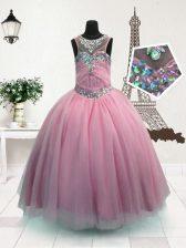 Scoop Sleeveless Little Girl Pageant Dress Floor Length Beading Pink Organza