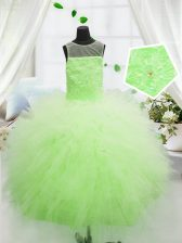 Yellow Green Pageant Gowns For Girls Party and Wedding Party with Beading and Appliques Scoop Sleeveless Zipper